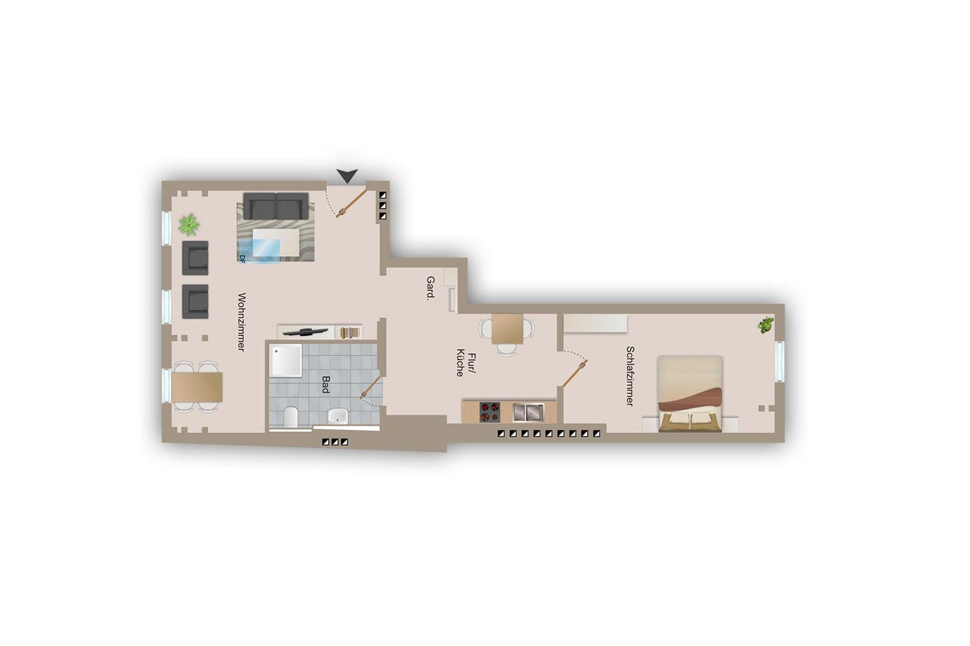 Ferienwohnung schneeeule 60 qm 4 pers kostenloses wlan for Wohnzimmer 60 qm
